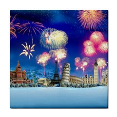 Happy New Year Celebration Of The New Year Landmarks Of The Most Famous Cities Around The World Fire Tile Coasters by Sapixe