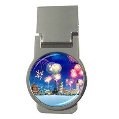 Happy New Year Celebration Of The New Year Landmarks Of The Most Famous Cities Around The World Fire Money Clips (round)  by Sapixe