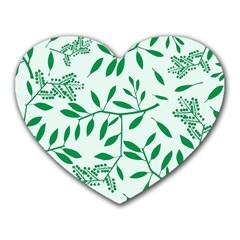 Leaves Foliage Green Wallpaper Heart Mousepads by Sapixe