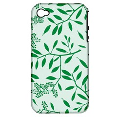 Leaves Foliage Green Wallpaper Apple Iphone 4/4s Hardshell Case (pc+silicone) by Sapixe
