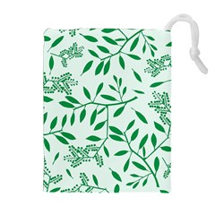 Leaves Foliage Green Wallpaper Drawstring Pouches (extra Large)