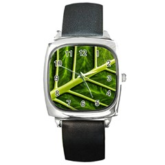 Leaf Dark Green Square Metal Watch by Sapixe