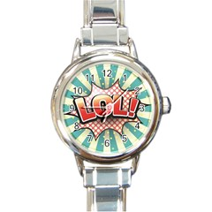 Lol Comic Speech Bubble  Vector Illustration Round Italian Charm Watch by Sapixe