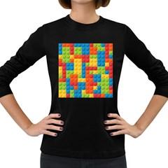 Lego Bricks Pattern Women s Long Sleeve Dark T Shirts by Sapixe