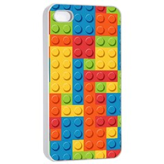 Lego Bricks Pattern Apple Iphone 4/4s Seamless Case (white) by Sapixe