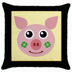 Luck Lucky Pig Pig Lucky Charm Throw Pillow Case (black) by Sapixe
