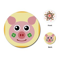 Luck Lucky Pig Pig Lucky Charm Playing Cards (round)  by Sapixe