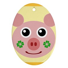 Luck Lucky Pig Pig Lucky Charm Oval Ornament (two Sides) by Sapixe