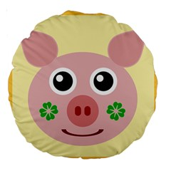 Luck Lucky Pig Pig Lucky Charm Large 18  Premium Round Cushions by Sapixe