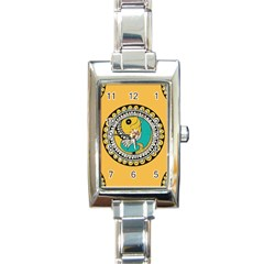 Madhubani Fish Indian Ethnic Pattern Rectangle Italian Charm Watch by Sapixe