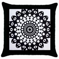 Mandala Geometric Symbol Pattern Throw Pillow Case (black) by Sapixe