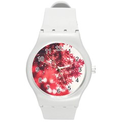 Maple Leaves Red Autumn Fall Round Plastic Sport Watch (m) by Sapixe