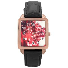 Maple Leaves Red Autumn Fall Rose Gold Leather Watch  by Sapixe