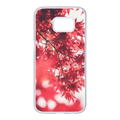 Maple Leaves Red Autumn Fall Samsung Galaxy S7 Edge White Seamless Case by Sapixe