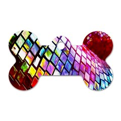 Multicolor Wall Mosaic Dog Tag Bone (two Sides) by Sapixe
