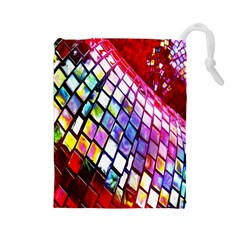 Multicolor Wall Mosaic Drawstring Pouches (large)  by Sapixe