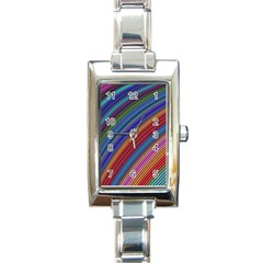 Multicolored Stripe Curve Striped Rectangle Italian Charm Watch by Sapixe