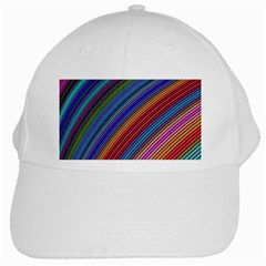 Multicolored Stripe Curve Striped White Cap by Sapixe