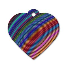 Multicolored Stripe Curve Striped Dog Tag Heart (two Sides) by Sapixe