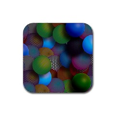 Multicolored Patterned Spheres 3d Rubber Coaster (square)  by Sapixe