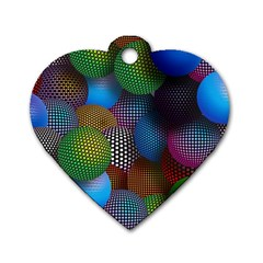 Multicolored Patterned Spheres 3d Dog Tag Heart (two Sides)