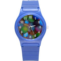 Multicolored Patterned Spheres 3d Round Plastic Sport Watch (s) by Sapixe