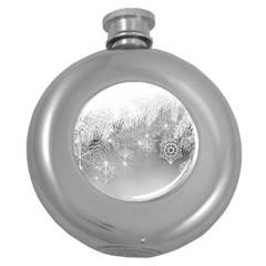New Year Holiday Snowflakes Tree Branches Round Hip Flask (5 Oz) by Sapixe