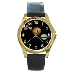 Outer Space Planets Solar System Round Gold Metal Watch by Sapixe