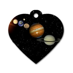 Outer Space Planets Solar System Dog Tag Heart (two Sides) by Sapixe