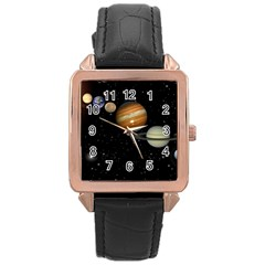 Outer Space Planets Solar System Rose Gold Leather Watch  by Sapixe