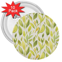 Green Leaves Nature Patter 3  Buttons (10 Pack)
