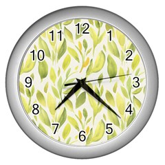 Green Leaves Nature Patter Wall Clocks (silver)  by paulaoliveiradesign