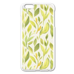 Green Leaves Nature Patter Apple Iphone 6 Plus/6s Plus Enamel White Case by paulaoliveiradesign