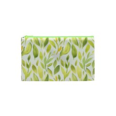 Green Leaves Nature Patter Cosmetic Bag (xs) by paulaoliveiradesign