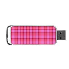 Valentine Pink Red Plaid Portable Usb Flash (two Sides) by snowwhitegirl