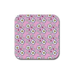 Eggs Pink Rubber Coaster (square)  by snowwhitegirl