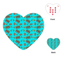 Fast Food Blue Playing Cards (heart)  by snowwhitegirl