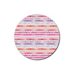 Watercolor Tribal Pattern Rubber Round Coaster (4 Pack)  by tarastyle
