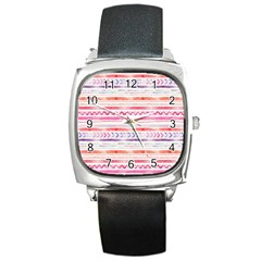 Watercolor Tribal Pattern Square Metal Watch by tarastyle