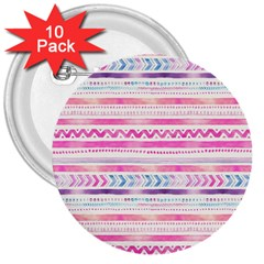 Watercolor Tribal Pattern  3  Buttons (10 Pack)  by tarastyle
