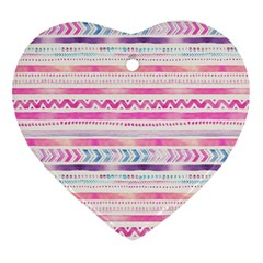 Watercolor Tribal Pattern  Heart Ornament (two Sides) by tarastyle