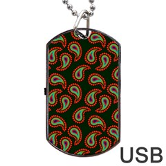 Pattern Abstract Paisley Swirls Dog Tag Usb Flash (one Side) by Sapixe