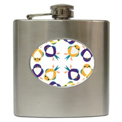 Pattern Circular Birds Hip Flask (6 Oz) by Sapixe