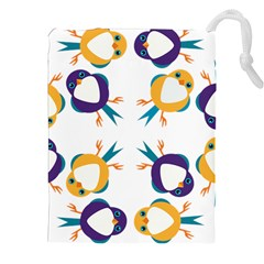 Pattern Circular Birds Drawstring Pouches (xxl) by Sapixe