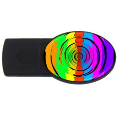 Pattern Colorful Glass Distortion Usb Flash Drive Oval (4 Gb)