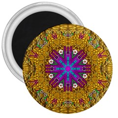 Golden Retro Medival Festive Fantasy Nature 3  Magnets by pepitasart