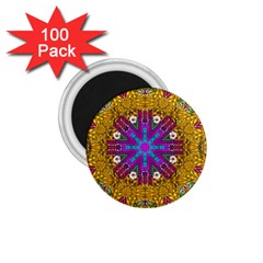 Golden Retro Medival Festive Fantasy Nature 1 75  Magnets (100 Pack)  by pepitasart