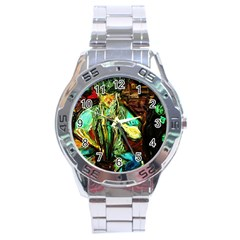 Girl In A Bar Stainless Steel Analogue Watch