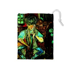 Girl In A Bar Drawstring Pouches (medium)