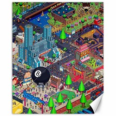 Pixel Art City Canvas 16  X 20   by Sapixe